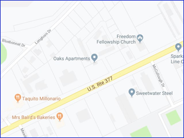 Map for the location of The Oaks Apartments, Brownwood-Early, Texas
